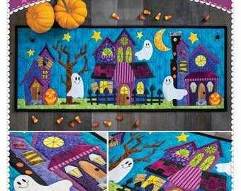 What a Boo-tiful Night Table Runner Pattern / Ghosts / Candy / Monster Houses / Tableware / Sewing Pattern / Shabby Fabrics