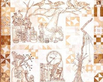 Crabapple Hill Studio / Calendula Patterdrips Cottage  / Halloween Images / Hand Embroidery Pattern / Witch's Cottage