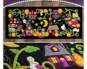 Halloween Hollow Table Runner Pattern / Jack o'Lanterns / Candy / Monster Houses / Tableware / Sewing Pattern / Shabby Fabrics