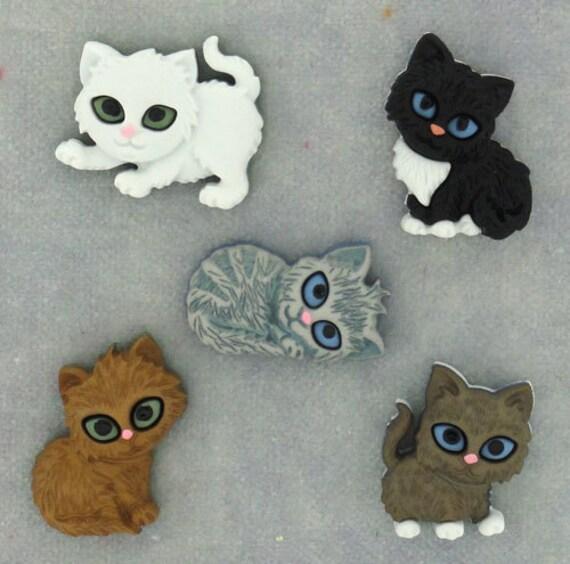 FAT CATS Kitten Kitty Brown Grey Pet Animal Novelty Dress It Up Craft Buttons