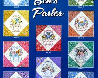 Aunt Bea's Parlor / Flower Baskets / Nostalgic Embroidery Designs / Black Cat Creations / Quilt Pattern / Judy Reynolds / Sewing Pattern
