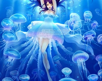 Jellyfish girl signed print