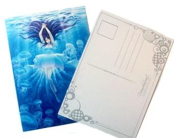 Postcard - Jellyfish girl