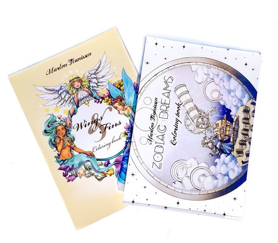 Zodiac Dreams and Wings& fins discount Coloring book set   Etsy