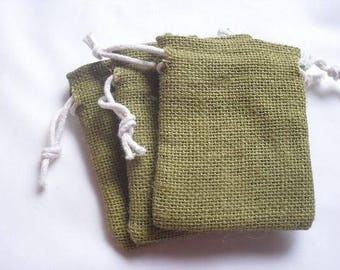 "50 Olive Green Burlap bags 4"" X 6"" for candles handmade soap wedding"