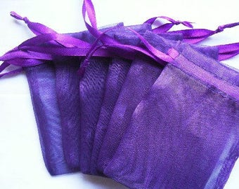 Purple Organza Bags / favor bags set of 50 bags 3 x 4 inch Great for handmade soaps, herbs, tea, jewelry etc.