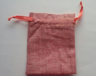 50 Pink Cotton Burlap bags -4x6 inches with matching satin ribbon