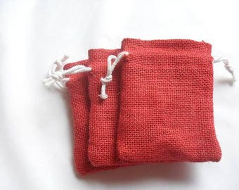 "25 Red Burlap bags 4"" X 6"" for candles handmade soap wedding"