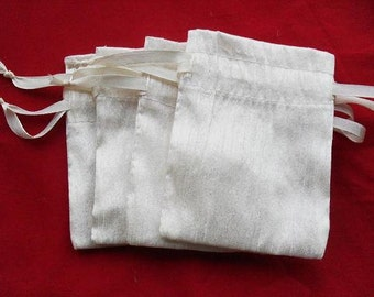 "40 Ivory Dupioni Silk drawstring Pouch 3"" X 5"" for stamping jewelry bath salts herbs handmade soap"