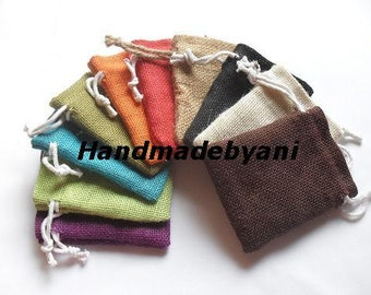 "10 Burlap bags 3"" X 5"" in Mix of 6 colors for candles handmade soap wedding"