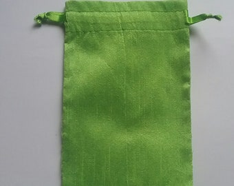 "100 Green Dupioni Silk drawstring Pouch 4"" X 6"" for stamping jewelry bath salts herbs handmade soap"