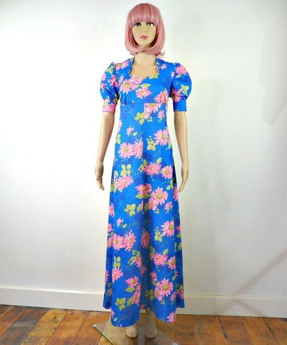 70s vintage bold floral maxi dress, maxi dress, 70