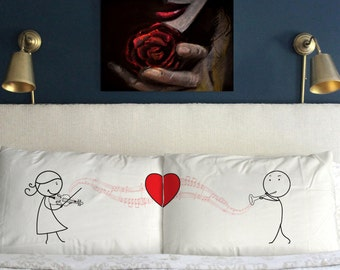 Love Symphony Pillow Cases Valentine's day  Funny  Gift  Wedding Perfect Couple