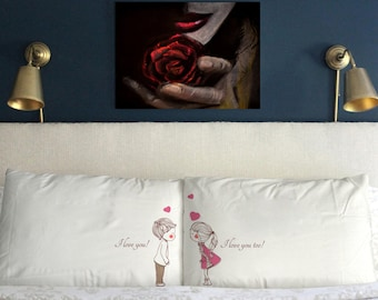 I love you too Pillow Cases  Funny  Valentine's day Gift  Wedding Perfect Couple