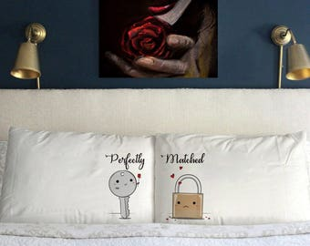 Perfectly Matched Pillow Cases  Funny Valentine's day Gift  Wedding Perfect Couple