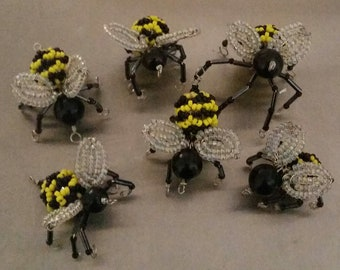 5 x beaded bumble bees