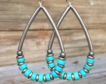 Turquoise earrings, turquoise jewelry, southwestern jewelry, hoop earrings, dangle earrings, silver jewelry, gift for her