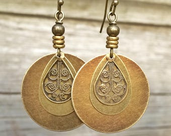 Bohemian Earrings - Dangle Boho Earrings - Brass Dangle Earrings - Boho Jewelry - Bohemian Jewelry - Ethnic Earrings - Ethnic Jewelry