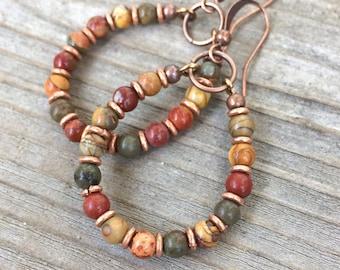 Bohemian Earrings - Bohemian Jewelry - Boho Hoop Earrings - Copper Jewelry - Copper Earrings - Colorful Earrings - Earthy Jewelry