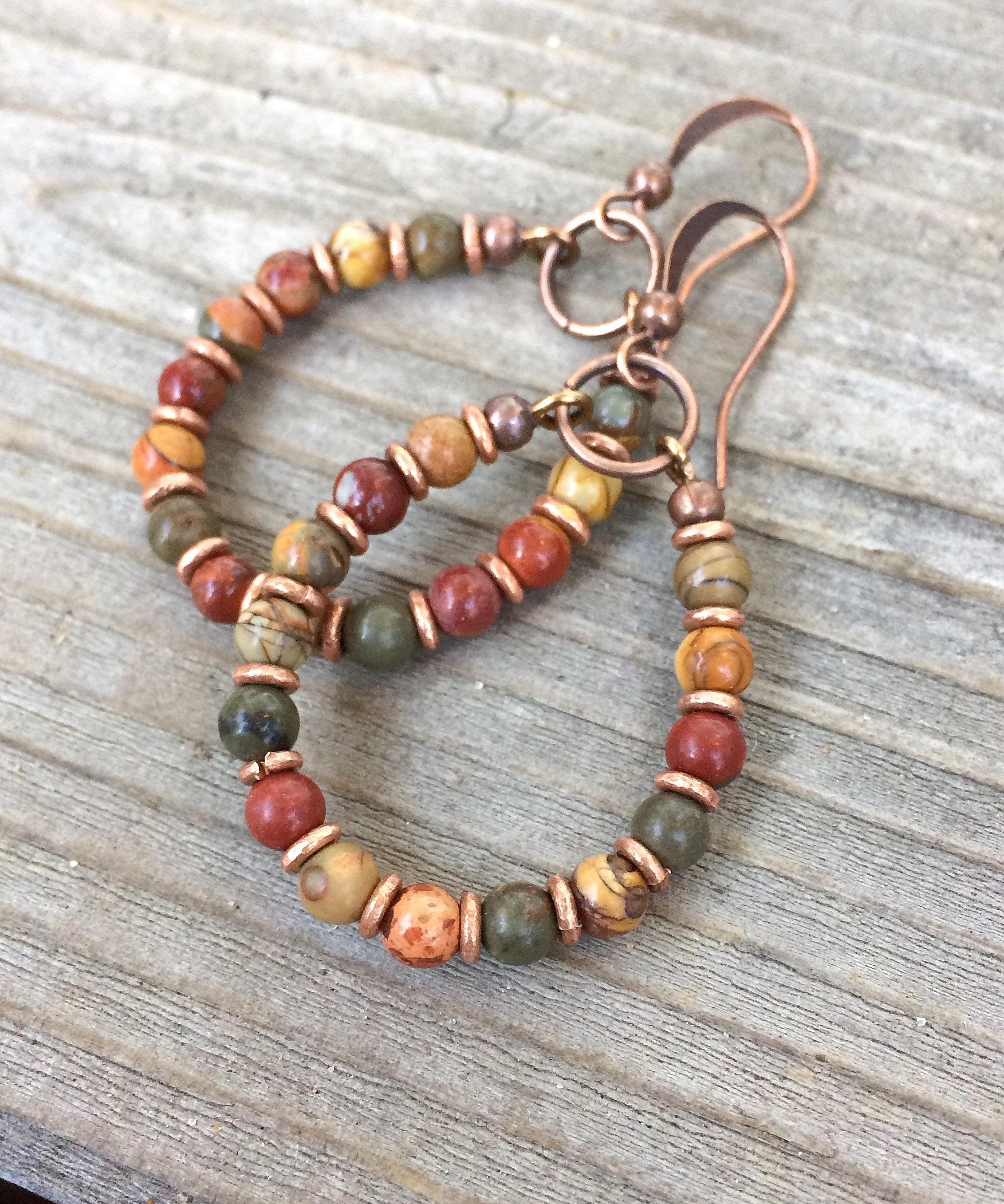 Brass Raku Hand Paisley Jasper Earrings NEW Boho Earrings Bohemian Earrings
