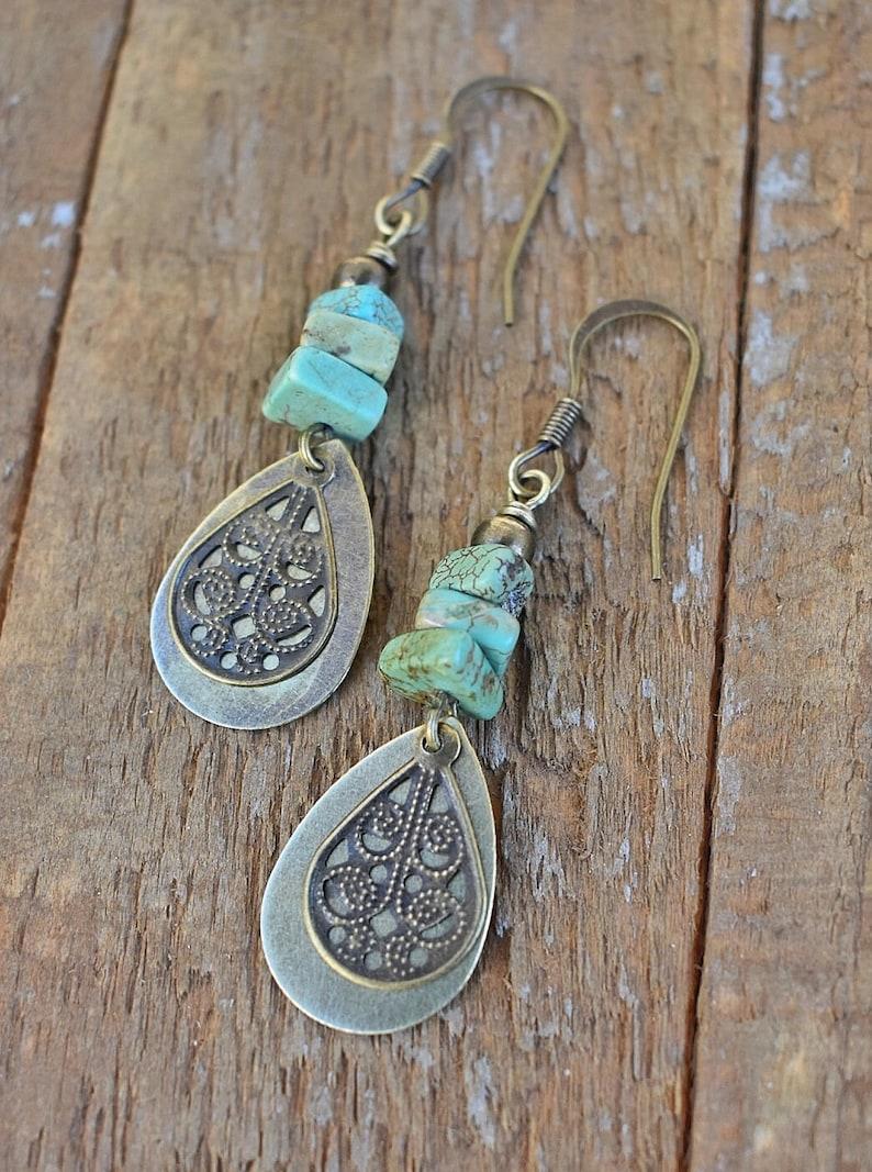 Dangle Boho Earrings Boho Earrings Dangle Boho Dangle Drop Earrings Turquoise Earrings Dangle Boho Brass Drop Earrings