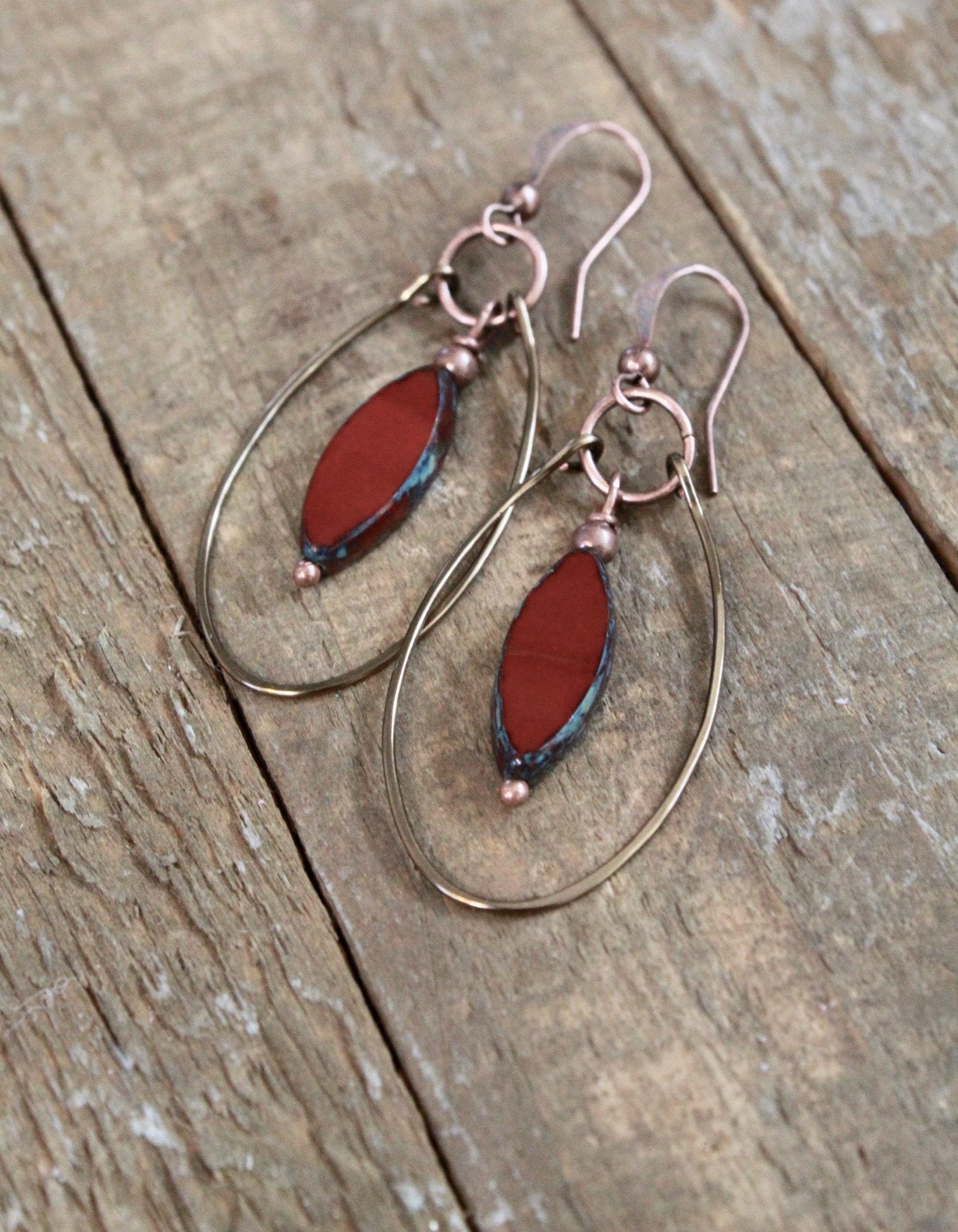 Copper and Carnelian Hoop Earrings