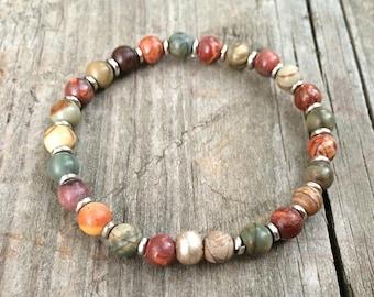 Bohemian Jewelry, Boho Colorful Bracelet, Boho Bracelet, Beaded Bracelet, Boho Jewelry Silver, Stone Bracelet, Colorful Jewelry