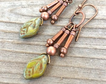 Leaf Earrings - Leaf Jewelry - Copper Leaf Earrings - Copper Dangle Earrings - Chandelier Earrings - Nature Jewelry - Copper Drop Earrings