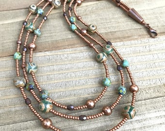 Multi strand necklace, beaded necklace, layered necklace, copper jewelry, copper necklace