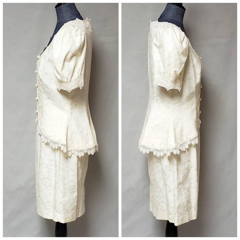 Size Medium 1980/'s Vintage White Lace 2 Piece Suit Dress Wedding Dress