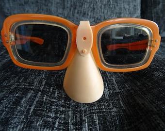 1970's thick rimmed orange sunglasses