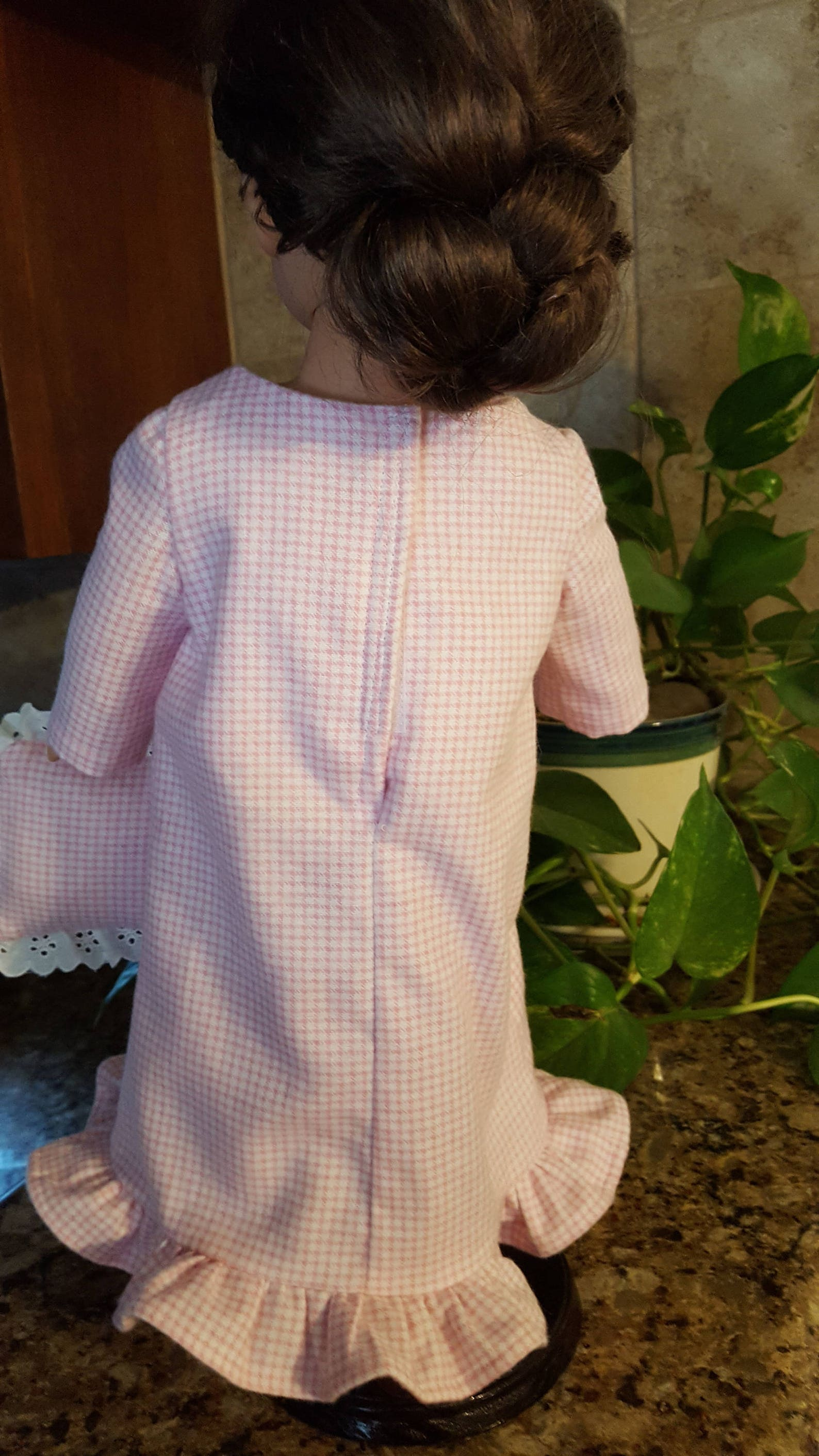 embroidered ballet shoes on pink gingham nightgown slippers pillow for american girl doll 18