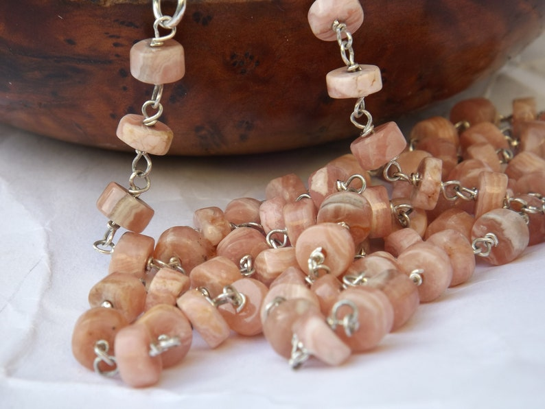 sterling silver real gemstone heishi necklace gift of jewellery pink beaded necklace gift for birthday Pink rhodochrosite necklace