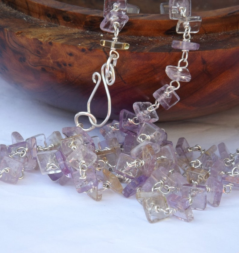 pink yellow necklace Ametrine necklace citrine necklace long amethyst necklace sterling silver square heishi gemstone necklace