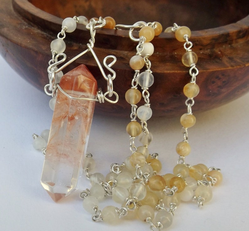Orange quartz point pendant with yellow opal necklace fancy handmade wire pendant for a birthday opal necklace point wire pendant