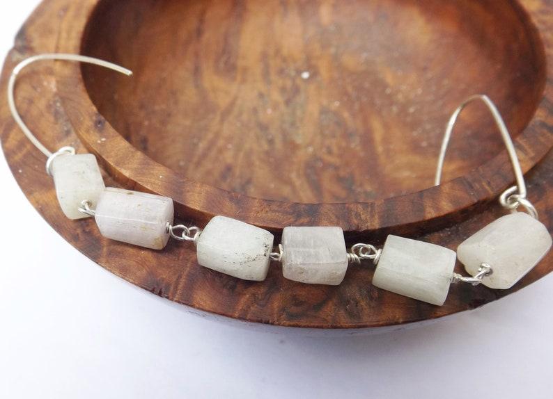 dangle earrings rectangle gemstone for a gift, Long earrings drop earrigs pink kunzite earrings candy earrings sterling silver
