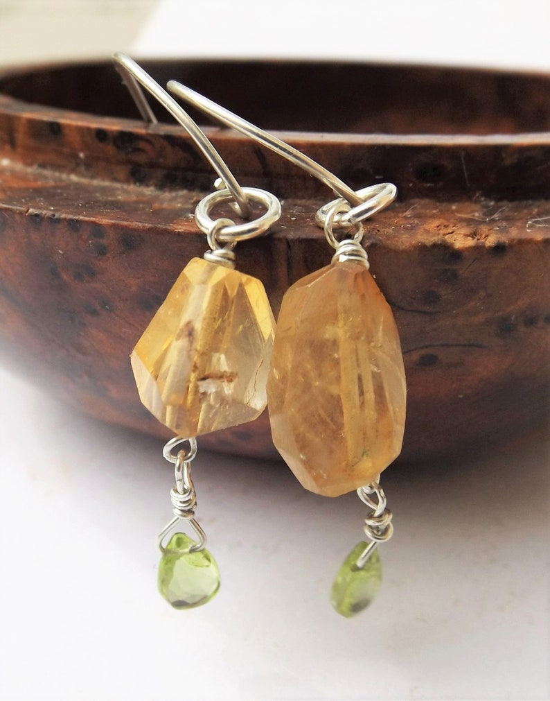 nugget drop dangle earrings for a birthday gift for a gift gemstone drop earrings Nugget golden citrine earrings with peridot