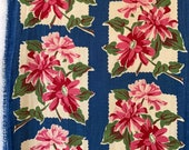 Blue and pink flower toweling, 7.5 yards of 16-inch vintage 1940s densely woven cotton for dish towels, table runners