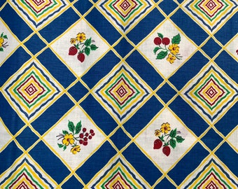 Blue diamond vintage fabric, 2.4 yards of 1940s kitchen cotton for home decor