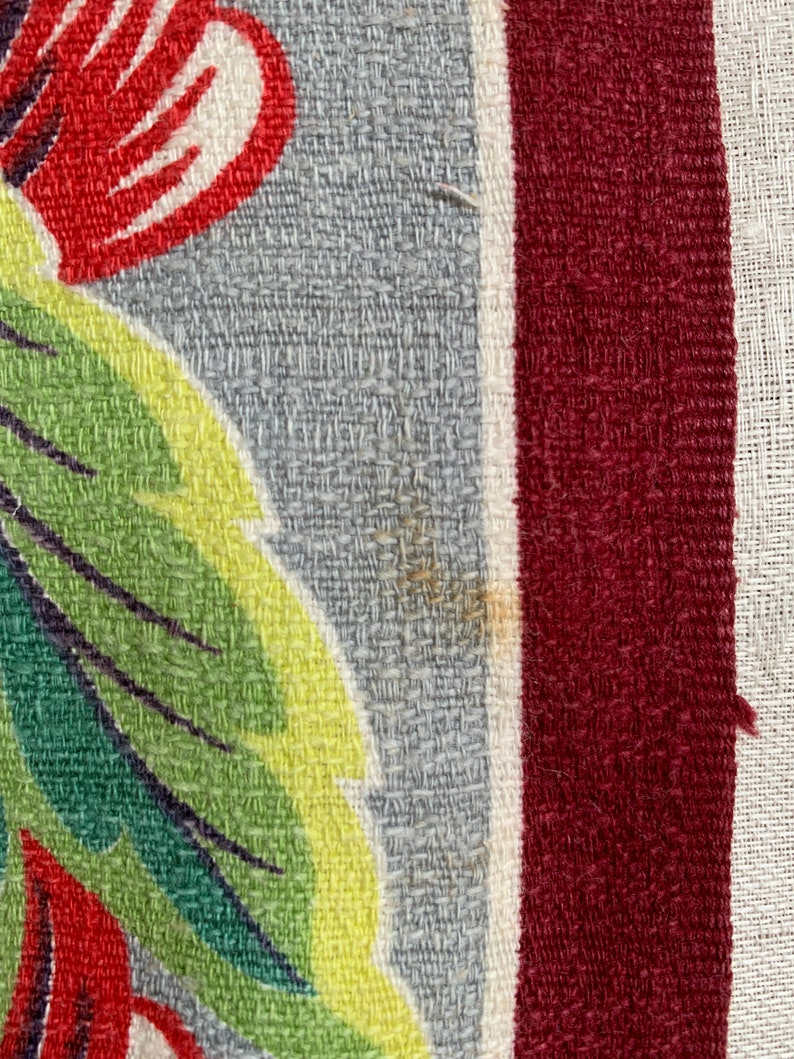 upholstery 1.6 yards of deco vintage 1930s striped fabric for pillows Red leaf stripe barkcloth