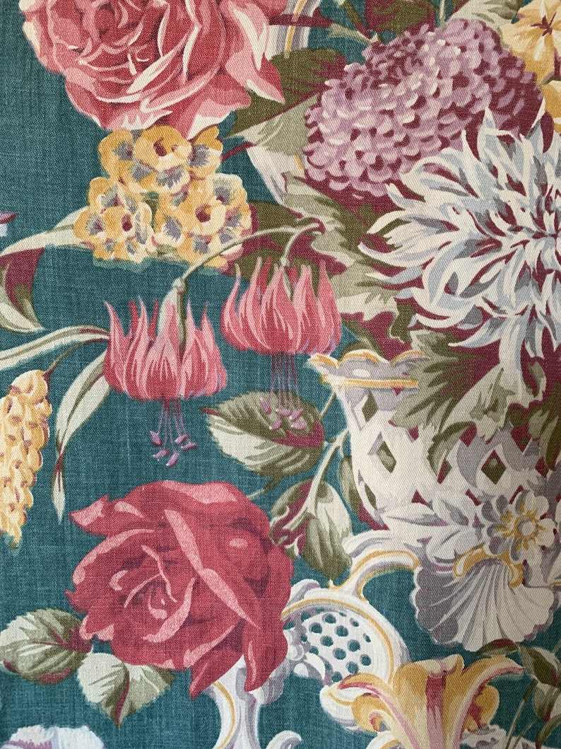 2+ yards 1940s cotton curtain half-panel Lenox bouquet cotton overall fading good for table runner