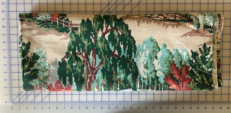 pillows 2 yards of vintage 1950s scenic fabric in fantastic colors for curtains drapes Arbor barkcloth