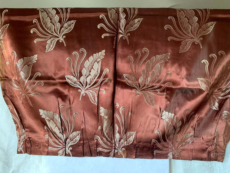 art deco curtain panel for purses totes pillows Chocolate damask 2.5+ yards from 1940s