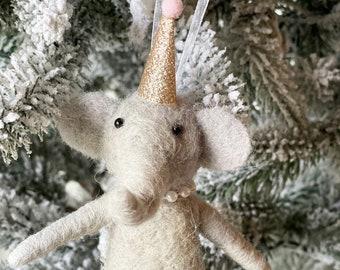 Circus Elephant | Christmas Elephant | Felted Wool Elephant | Gifts under 15