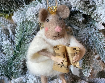 Angel Mouse | Christmas Mouse | Felted Wool Mouse | Gifts under 15