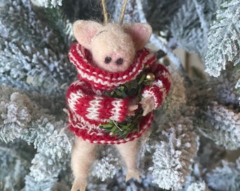 Pig with stripes and wreath | Christmas Pig | Felted Wool Pig| Gifts under 15