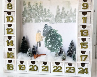 Wooden Christmas Advent Calendar with Numbered Boxes | Watercolor Tree Cutting Scene | Tree Farm