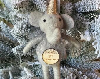 Baby's First Christmas Elephant Boy| Christmas Elephant | Felted Wool Elephant | Gifts under 15