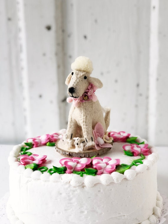 Amazing Felted Wool Pink Poodle Cake Topper Etsy Funny Birthday Cards Online Aeocydamsfinfo