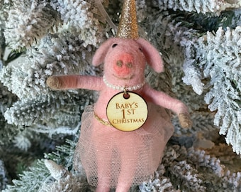 Baby's First Christmas Piggy Girl| Christmas Pig | Felted Wool Pig | Gifts under 15